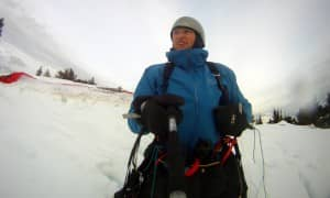 launch in hip deep snow