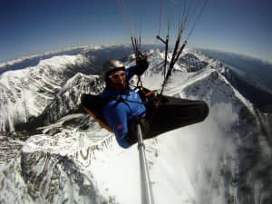 Max flying over Chisel Peak